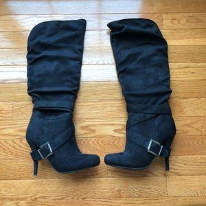 Shoe Dazzle Christina Black Heeled Boots